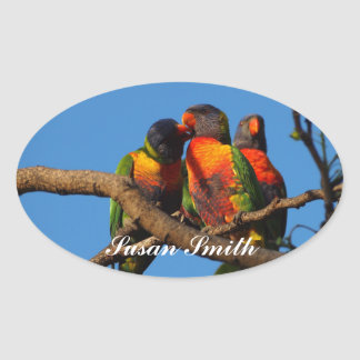 Oval photo sticker with name - Rainbow Lorikeet