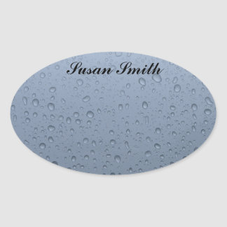 Oval photo sticker with name - Raindrop background