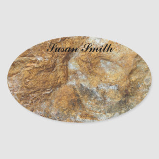 Oval photo sticker with name - Rocky background