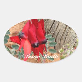 Oval photo sticker with name - Sturt's Desert Pea