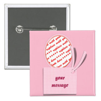 Oval Pink Frame with Tag  Photo Frame Buttons