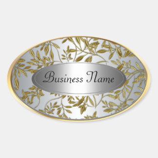 Oval Sticker Label Black Silver Gold Floral