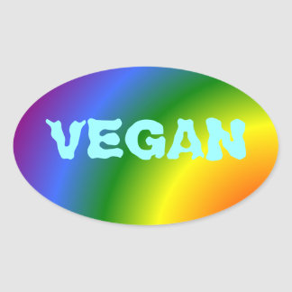 Oval Vegan Rainbow Sticker
