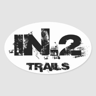 Oval Vehicle Decal  IN.2 TRAILS Black On White Oval Sticker