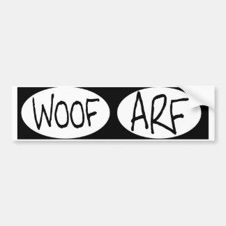 oval WOOF ARF dog bumper stickers