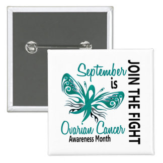 Ovarian Cancer Awareness Month Butterfly 3.1 2 Inch Square Button