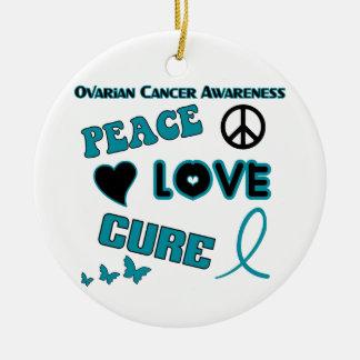 Ovarian Cancer Awareness Round Ceramic Ornament