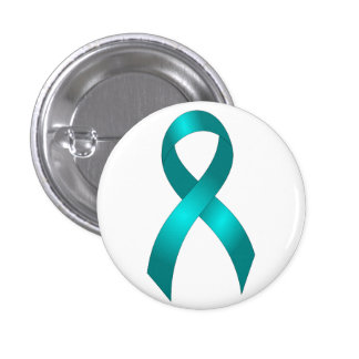 Ovarian Cancer | Cervical Cancer - Teal Ribbon 1 Inch Round Button