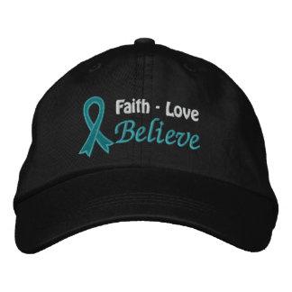 Ovarian Cancer Faith Love Believe Embroidered Baseball Caps