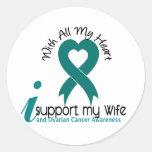 Ovarian Cancer I Support My Wife Round Sticker