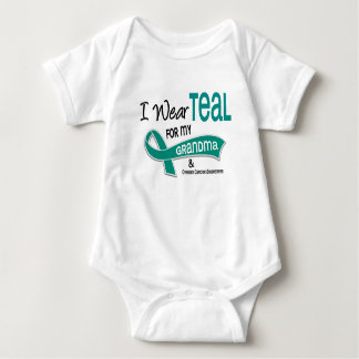 Ovarian Cancer I WEAR TEAL FOR MY GRANDMA 42 Baby Bodysuit