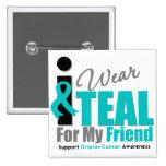 Ovarian Cancer I Wear Teal Ribbon Friend Pin