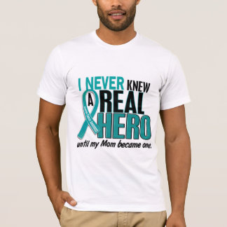 Ovarian Cancer NEVER KNEW A HERO 2 Mom T-Shirt