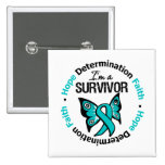 Ovarian Cancer Survivor Hope Determination Faith 2 Inch Square Button