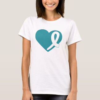 Ovarian Cancer t-shirt Heart and Teal Ribbon