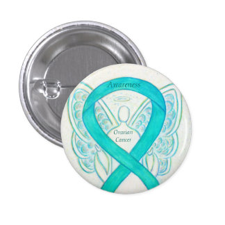 Ovarian Cancer Teal Awareness Ribbon Angel Pin