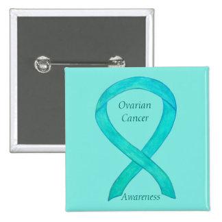 Ovarian Cancer Teal Awareness Ribbon Custom Pin