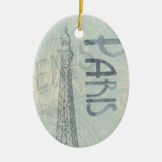 Ovel Vintage Eiffel Tower Ornament