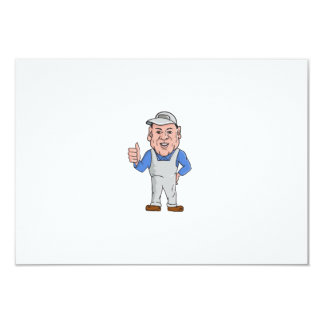 "Oven Cleaner Technician Thumbs Up Cartoon 3.5"" X 5"" Invitation Card"
