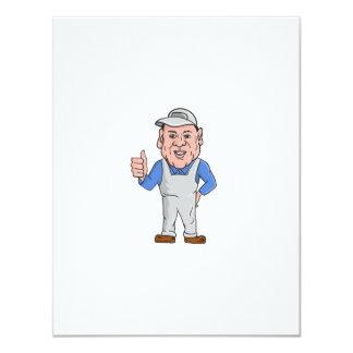 "Oven Cleaner Technician Thumbs Up Cartoon 4.25"" X 5.5"" Invitation Card"