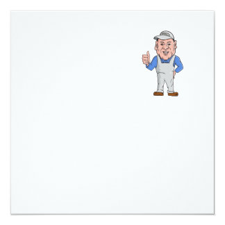 """Oven Cleaner Technician Thumbs Up Cartoon 5.25"""" Square Invitation Card"""