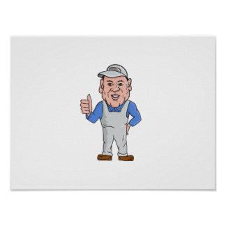 Oven Cleaner Technician Thumbs Up Cartoon Poster