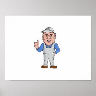 Oven Cleaner Technician Thumbs Up Cartoon Poster