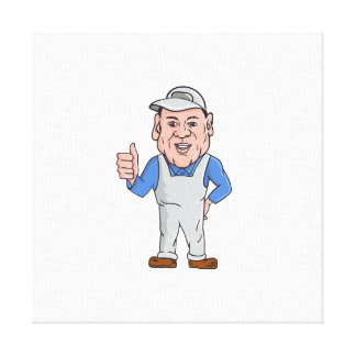Oven Cleaner Technician Thumbs Up Cartoon Stretched Canvas Print