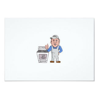 """Oven Cleaner With Oven Thumbs Up Cartoon 3.5"""" X 5"""" Invitation Card"""