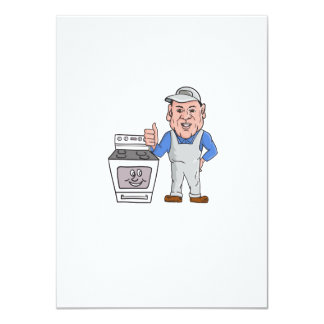 """Oven Cleaner With Oven Thumbs Up Cartoon 4.5"""" X 6.25"""" Invitation Card"""