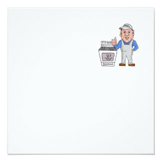 """Oven Cleaner With Oven Thumbs Up Cartoon 5.25"""" Square Invitation Card"""