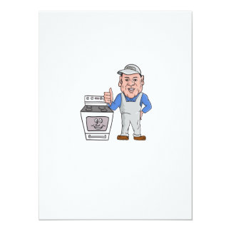 """Oven Cleaner With Oven Thumbs Up Cartoon 5.5"""" X 7.5"""" Invitation Card"""