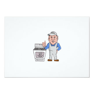 """Oven Cleaner With Oven Thumbs Up Cartoon 5"""" X 7"""" Invitation Card"""
