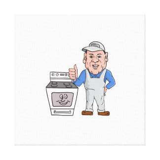 Oven Cleaner With Oven Thumbs Up Cartoon Canvas Print