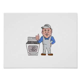 Oven Cleaner With Oven Thumbs Up Cartoon Poster