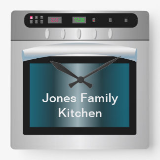 Oven graphic with personalized text square wall clock