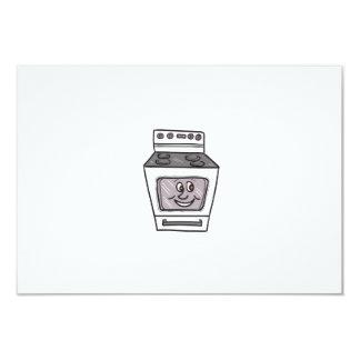 "Oven Smiley Face Cartoon 3.5"" X 5"" Invitation Card"