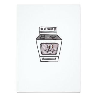 "Oven Smiley Face Cartoon 4.5"" X 6.25"" Invitation Card"