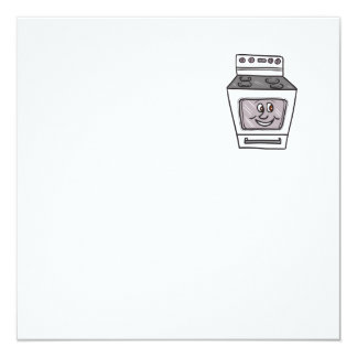 "Oven Smiley Face Cartoon 5.25"" Square Invitation Card"