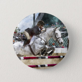 Over Easy Hunter Jumper Show Jumping 2 Inch Round Button