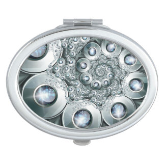 Over jeweled Oval Compact Mirror