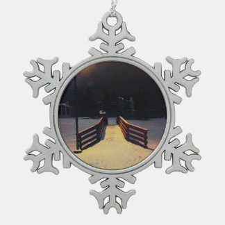 Over the Bridge Snowflake Pewter Christmas Ornament