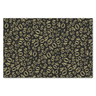 Over The Hill 40th Birthday Gold/Black Pattern Tissue Paper
