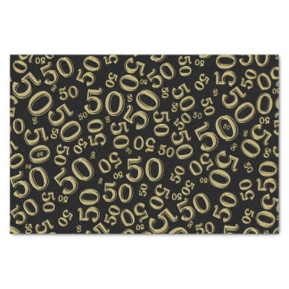 Over The Hill 50th Birthday Black/Gold Pattern Tissue Paper