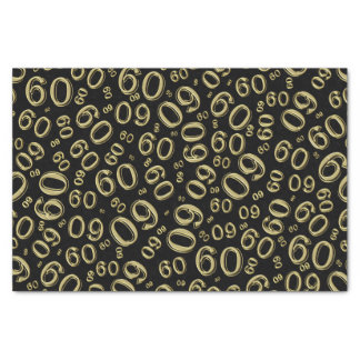 Over The Hill 60th Birthday Gold/Black Pattern Tissue Paper
