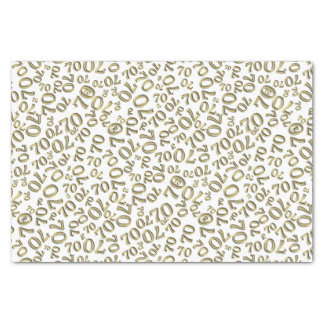 Over The Hill 70th Birthday Gold White Collage Tissue Paper