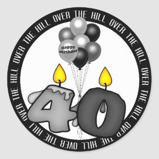 Over the Hill at 40 Birthday Round Sticker