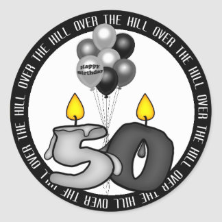Over the Hill at 50 Birthday Round Sticker