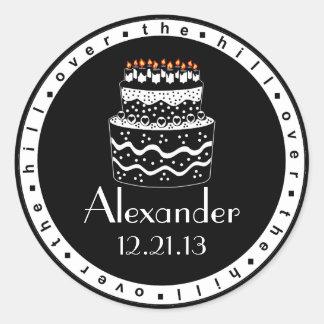Over The Hill Birthday Cake Classic Round Sticker