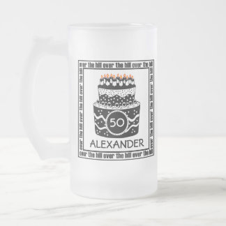 Over The Hill-Birthday Cake Frosted Glass Beer Mug